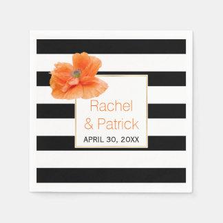 Black, white stripes and coral poppy wedding disposable napkins