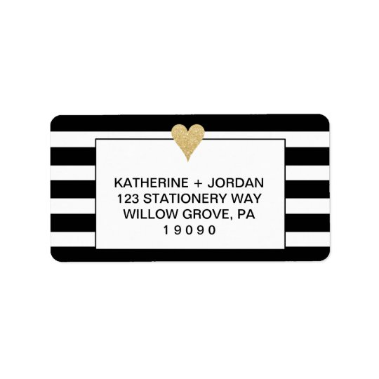 Black White Stripes and Gold Heart Wedding Label