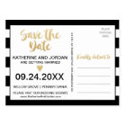 Black White Stripes and Gold Text Save the Date Postcard