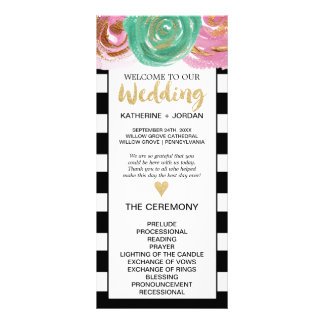 Black White Stripes and Gold Text Wedding Program