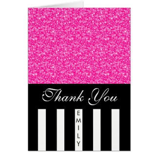 Black White Stripes And Pink Glitter- Thank You Card