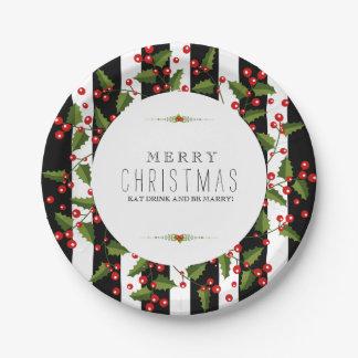 Black & White Stripes Christmas Wreath Paper Plate