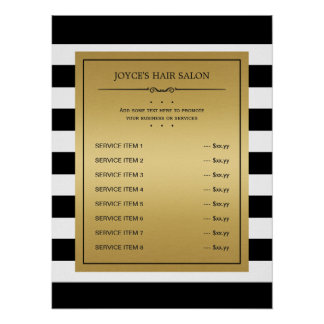 Black White Stripes Classic Gold Service Menu Poster