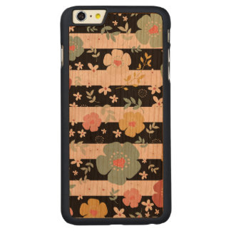 Black & White Stripes & Colorful Flowers Pattern Carved Cherry iPhone 6 Plus Case