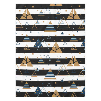 Black& White Stripes Colorful Triangles Pattern Tablecloth