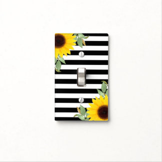 Black White Stripes Corner Sunflowers Floral Chic Light Switch Cover