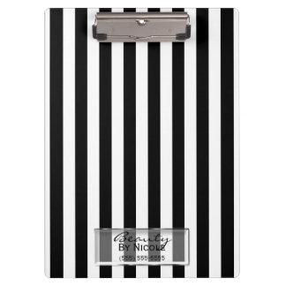 Black White Stripes Elegant Glam Personalized Clipboard
