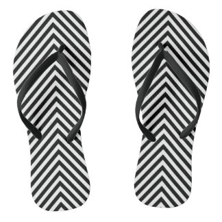 Black & White Stripes Flip Flops