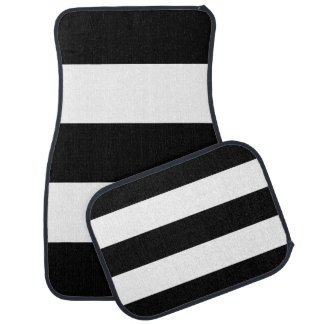 Black White Stripes Floor Mat