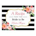 Black White Stripes Floral Bridal Shower Recipe Postcard