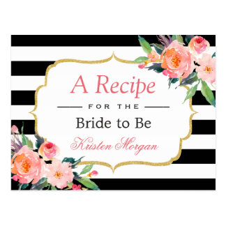 Black White Stripes Floral Bridal Shower Recipe Postcard