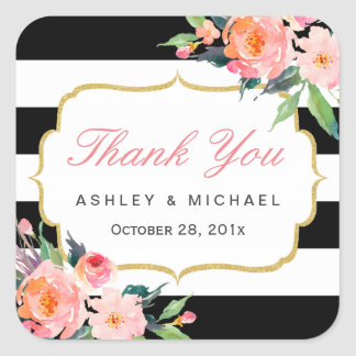 Black White Stripes Floral Wedding Favor Thank You Square Sticker