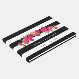Black & White Stripes Floral Wedding Guest Books