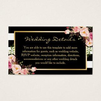 Black White Stripes Floral Wedding Insert Card