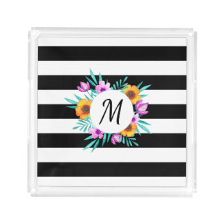 Black & White Stripes Floral Wreath Monogram Serving Tray