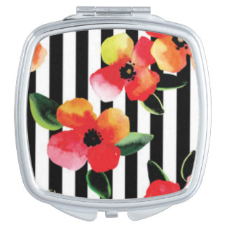 Black White Stripes Flowers Pattern Print Design Compact Mirror
