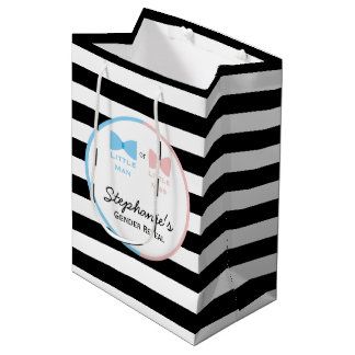 Black, White Stripes Gender Reveal Bow and Bow Tie Medium Gift Bag