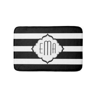 Black & White Stripes Geometric Pattern Bath Mat