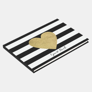 Black & White Stripes Gold Foil Heart Guest Book