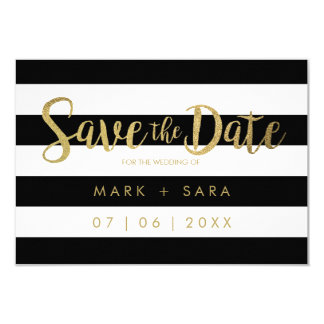 Black & White Stripes Gold Foil Save the Date Card