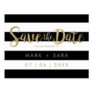 Black & White Stripes Gold Foil Save the Date Postcard