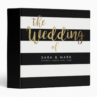 Black & White Stripes Gold Foil Wedding 3 Ring Binders