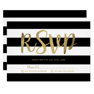 Black & White Stripes Gold Foil Wedding RSVP Card