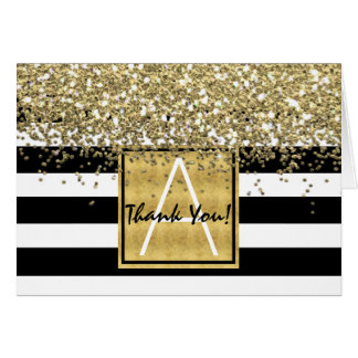 Black & White Stripes Gold Glitter Thank You Card