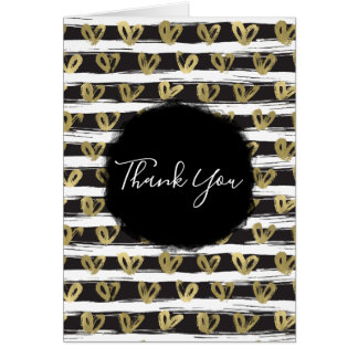 Black White Stripes Gold Hearts Card
