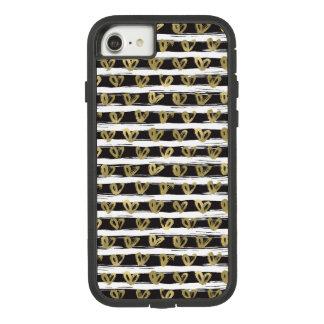 Black White Stripes Gold Hearts Case-Mate Tough Extreme iPhone 8/7 Case