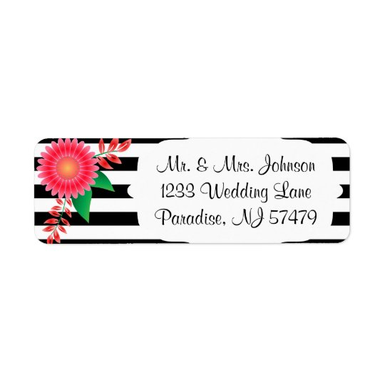 Black & White Stripes, Gold | Pink Flowers | Return Address Label