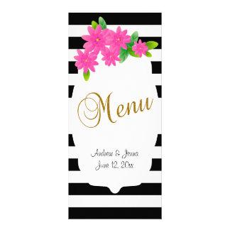 Black & White Stripes, Gold | Pink Menu Rack Cards