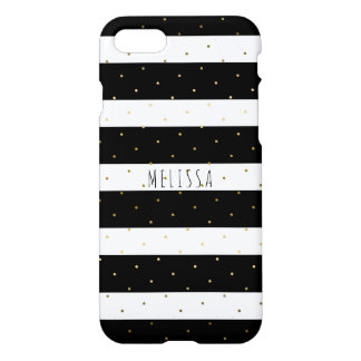 Black & White Stripes Gold Polkadots iPhone 7 Case