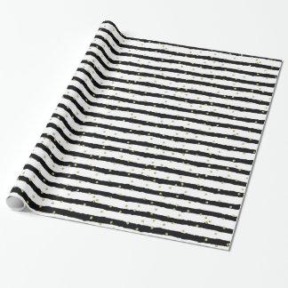 Black White Stripes Gold Sparkly Confetti
