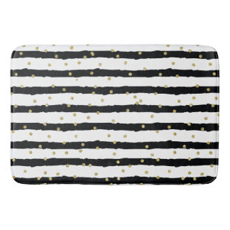 Black White Stripes Gold Sparkly Confetti Bath Mat