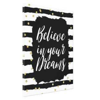 Black White Stripes Gold Sparkly Confetti Dreams Canvas Print