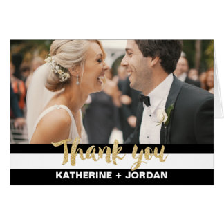 Black White Stripes & Gold Wedding Photo Thank You Card