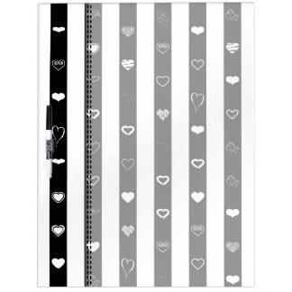 Black White Stripes Modern Heart Pattern Dry Erase Board