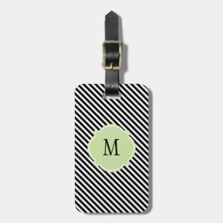 Black & White Stripes Monogram Luggage Tag