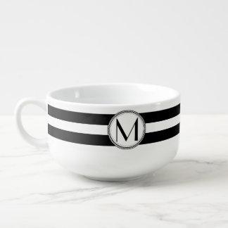 Black | White Stripes Pattern Monogram Soup Bowl With Handle