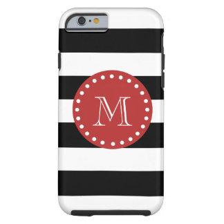 Black White Stripes Pattern, Red Monogram Tough iPhone 6 Case