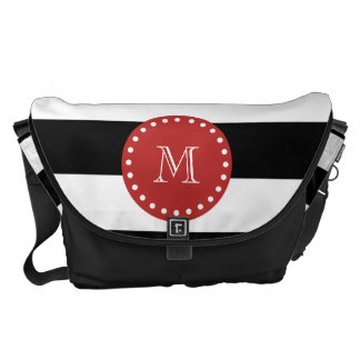 Black White Stripes Pattern, Red Monogram Courier Bags
