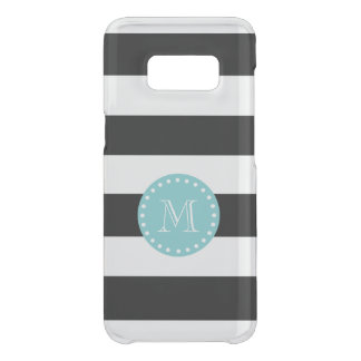 Black White Stripes Pattern, Teal Monogram Uncommon Samsung Galaxy S8 Case