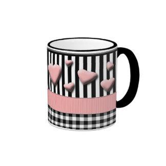 Black White Stripes Pink Hearts Mugs