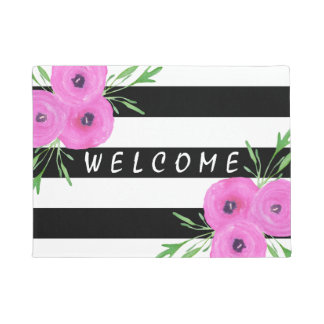 Black White Stripes Pink Ranunculus Floral Doormat