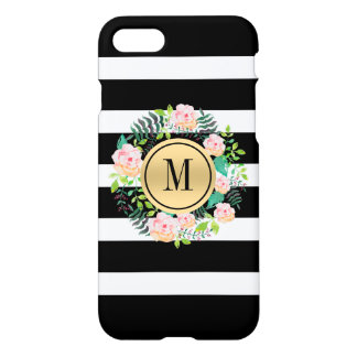 Black & White Stripes, Pink Roses Wreath, Monogram iPhone 8/7 Case