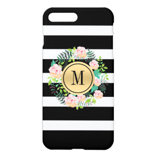 Black & White Stripes Pink Roses Wreath Monogram iPhone 8 Plus/7 Plus Case