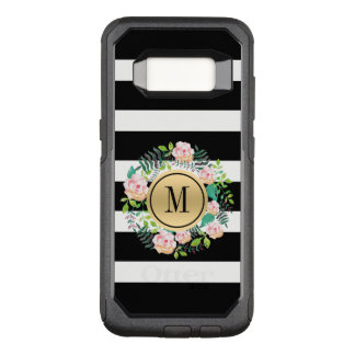 Black & White Stripes, Pink Roses Wreath, Monogram OtterBox Commuter Samsung Galaxy S8 Case