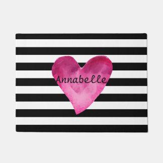Black + White Stripes Pink Watercolor Heart name Doormat