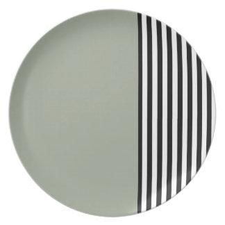 Black & White Stripes Plate